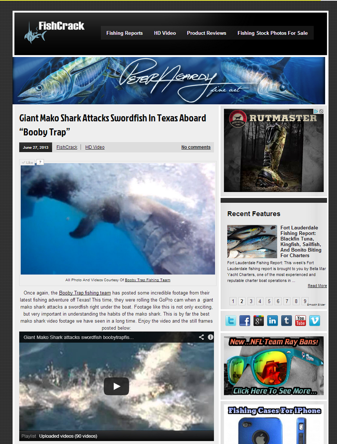 FISHCRACK writes an article about giant mako shark attacking swordfish with the booby trap fishing team
